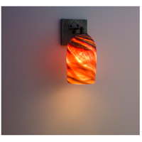 WPT Design ROSE-CRFT-SC-AM Rose Craftsman 1 Light 6 inch Wrought Iron Wall Sconce Wall Light in Amber Swirl