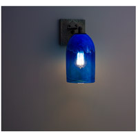 Rose Craftsman 1 Light 6 inch Wrought Iron Wall Sconce Wall Light in Clear Blue