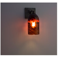 WPT Design ROSE-CRFT-SC-CLDKAM Rose Craftsman 1 Light 6 inch Wrought Iron Wall Sconce Wall Light in Clear Dark Amber