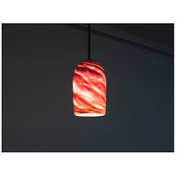 WPT Design ROSE-CYL-AM-BZ-35 Rose Cylinder 1 Light 6 inch Bronze Pendant Ceiling Light in 35 Amber Swirl