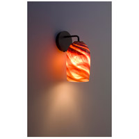 WPT Design ROSE-MOD-SC-AM-BZ Rose Modern 1 Light 6 inch Bronze Wall Sconce Wall Light in Amber Swirl
