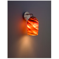 WPT Design ROSE-MOD-SC-AM-SS Rose Modern 1 Light 6 inch Stainless Steel Wall Sconce Wall Light in Amber Swirl