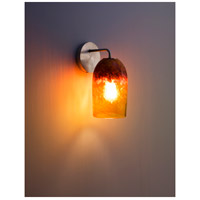 WPT Design ROSE-MOD-SC-CLAM-SS Rose Modern 1 Light 6 inch Stainless Steel Wall Sconce Wall Light in Clear Amber