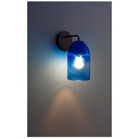 WPT Design ROSE-MOD-SC-CLBL-BZ Rose Modern 1 Light 6 inch Bronze Wall Sconce Wall Light in Clear Blue