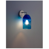 WPT Design ROSE-MOD-SC-CLBL-SS Rose Modern 1 Light 6 inch Stainless Steel Wall Sconce Wall Light in Clear Blue