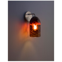 WPT Design ROSE-MOD-SC-CLDKAM-SS Rose Modern 1 Light 6 inch Stainless Steel Wall Sconce Wall Light in Clear Dark Amber