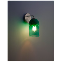 WPT Design ROSE-MOD-SC-CLGR-SS Rose Modern 1 Light 6 inch Stainless Steel Wall Sconce Wall Light in Clear Green