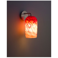 WPT Design ROSE-MOD-SC-RH-SS Rose Modern 1 Light 6 inch Stainless Steel Wall Sconce Wall Light in Red Hot