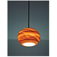 WPT Design ROSE-GL-AM-BZ-45 Rose Globe 1 Light 8 inch Bronze Pendant Ceiling Light in 45 Amber Swirl