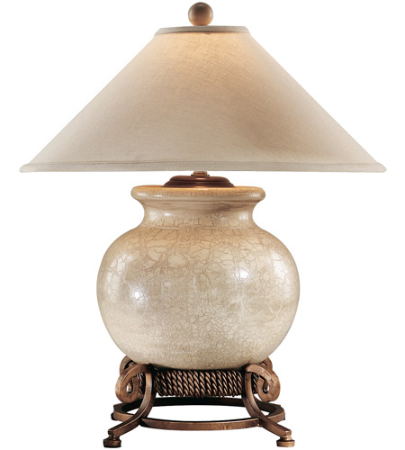 Wildwood Lamps 10719 Urn 27 inch 60 watt Antique Crackle Porcelain And Wrought Iron Table Lamp Portable Light photo