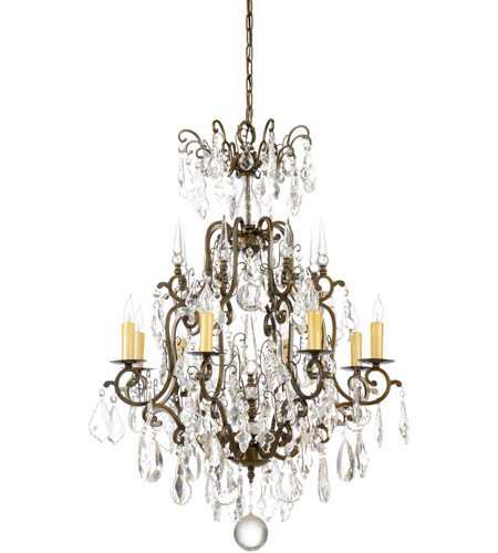 Wildwood Lamps Signature Chandelier in Old Gold On Iron With Crystal 1179 photo