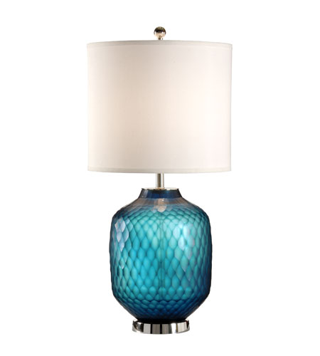 Wildwood Lamps Discovery 1 Light Chisel Cut Crystal Table Lamp in Art Glaze with Polished Nickel Mount 12535 photo