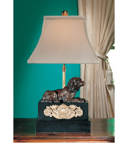 Wildwood Lamps French Spaniel Fire Dog Table Lamp in Antique Bronze Patina 14052 photo