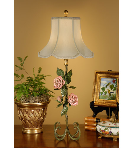 Wildwood Lamps Botanical Magazine Rose Table Lamp in Ironwork 14074 photo