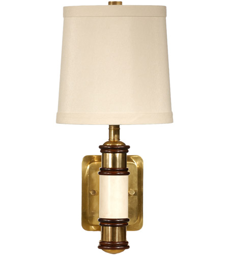 Wildwood Lamps Cream Column Wall Sconce in Solid Brass With Antique Patina 15624 photo