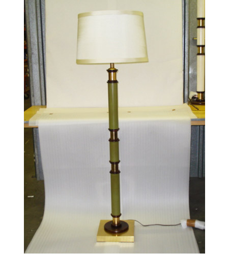 Wildwood Lamps Green Column Floor Lamp in Solid Brass With Antique Patina 15629 photo