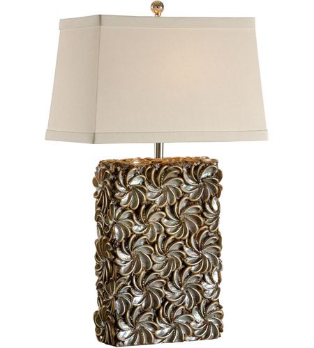 Wildwood Lamps Tommy Bahama 1 Light Swirl Of Shells Lamp Table In Hand Inlaid Real