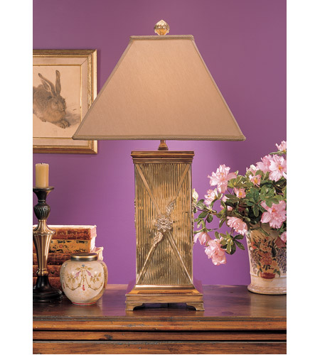 Wildwood Lamps Flower Bound Cannister Table Lamp in Tarnish Patina On Cast Brass 2076-2 photo