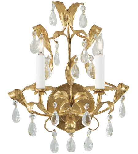 Wildwood Lamps Gold And Crystal Sconce in Metal Leaf on Iron 2214 photo