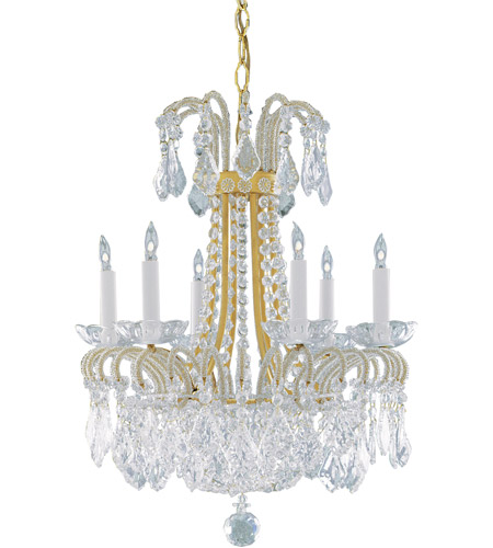 Wildwood Lamps Dripping Crystals Chandelier in Polished Solid Brass 2264 photo