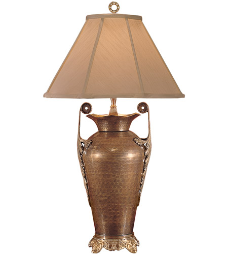 Wildwood Lamps Handled Vase Table Lamp in Antique Patina On Hand Hammered Brass 2377 photo