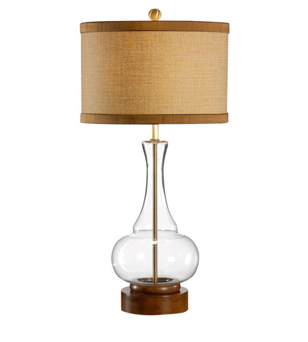 Wildwood Lamps Studio W Mouth Blown Glass Anoushka Lamp - Wood Base Finished Dry Antique 26098-2 photo