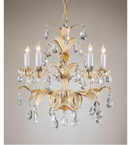 Wildwood Lamps Crystal And Leaves Chandelier in Hand Finished Gold With Rubbed White 2882 photo