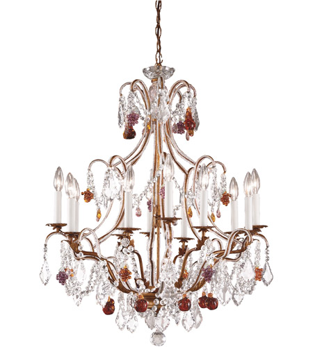 Wildwood Lamps Beaded Crystals Chandelier in French Gold With Polychrome Crystals 2898 photo