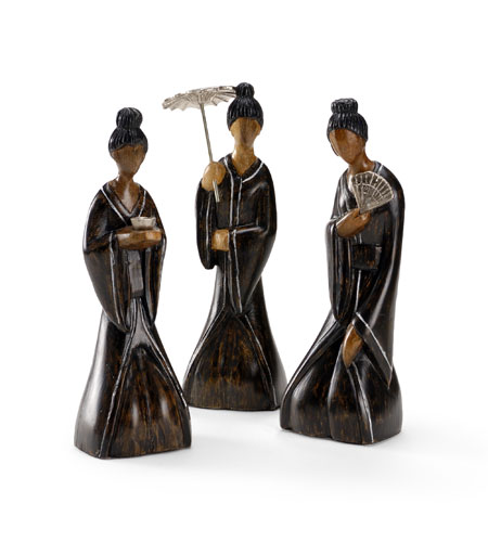 Wildwood Lamps Coastal Sitting Ladies (Set of 3) Decor Accessory in Hand Made Japanese Style 292519 photo