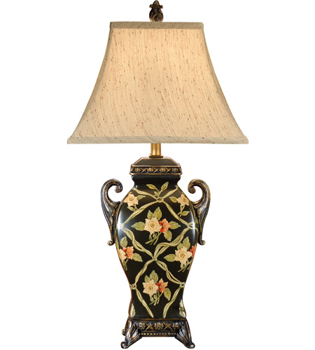 Wildwood Lamps Ribbons And Flowers Table Lamp in Hand Painted On Porcelain 46063 photo