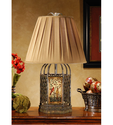 Wildwood Lamps Cage Of Birds Table Lamp in Hand Painted Wrought Iron And Wood 46311 photo