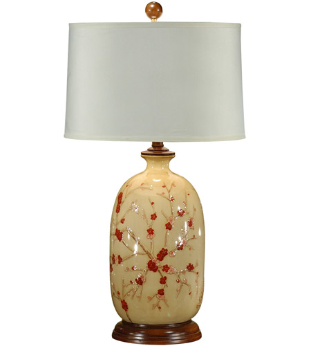 Wildwood Lamps Red Blossoms Table Lamp in Hand Painted Lacquer On Porcelain 46408 photo