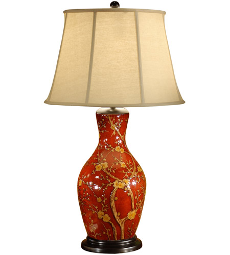 Wildwood 46472 Blossoms On Red 33 inch 100 watt Hand Painted Table Lamp Portable Light photo