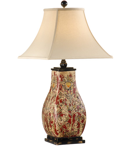 Wildwood Lamps Raised Bloom Table Lamp in Porcelain With Wood Mounting 46597 photo