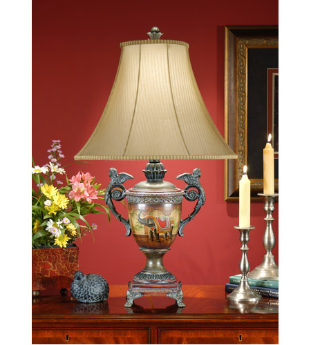 Wildwood Lamps Eastern Urn Table Lamp in Hand Painted Faux Wood And Faux Bronze 46707 photo