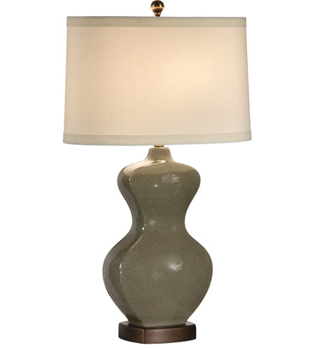 Wildwood Lamps Slim Waist Bottle Table Lamp in Green Crackle 46770 photo
