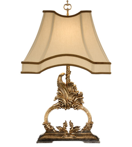 Wildwood Lamps 46863 Gilt Flourish 28 inch 100 watt Gold Metal Leaf With Old Silver Table Lamp Portable Light photo