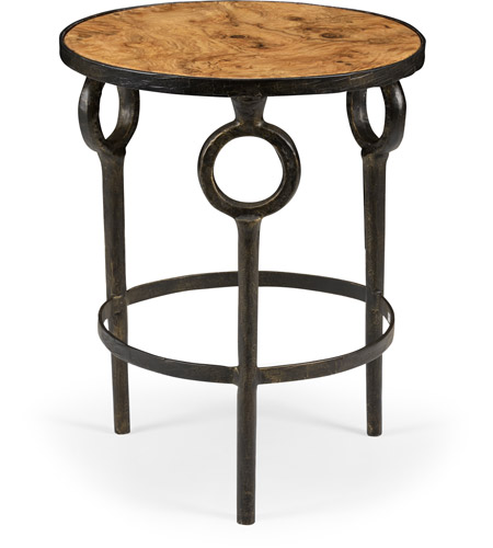 Wildwood 490091 Hudson 25 X 20 Inch Bronze And Faux Burl Wood Side Table