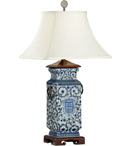 Wildwood 5294 Blue White 30 Inch 100 Watt Hand Painted Porcelain Table Lamp  Portable Light Photo
