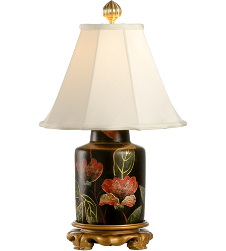 Wildwood Lamps Night Flowers Table Lamp in Hand Painted Lacquer On Porcelain 5689 photo