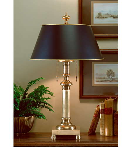Wildwood Lamps 593 3 Octagon 60 Watt W/Alt. Black Parchment Shade Table