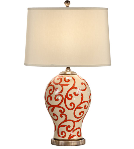 Wildwood Lamps Red Scrolls Table Lamp in Hand Painted Crackle Porcelain 60061 photo
