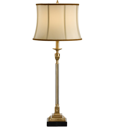 Wildwood Lamps Crystal Column Table Lamp in Cast Brass 60268 photo