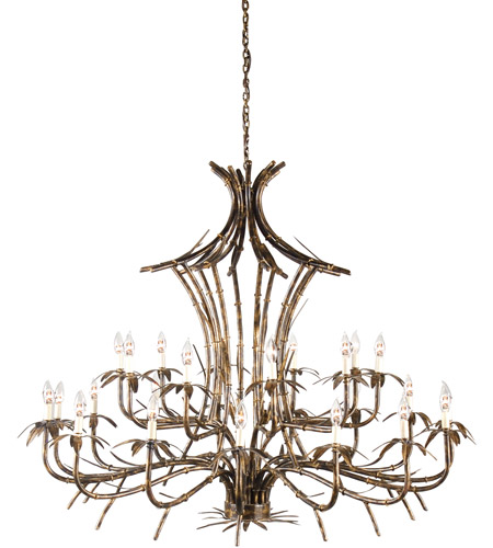 Wildwood Lamps 67006 Bamboo 25 Light 57 inch Old Gold Patina On Chandelier Ceiling Light photo