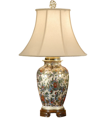 Wildwood 7698 Flowers 31 Inch 100 Watt Hand Painted Table Lamp Portable Light