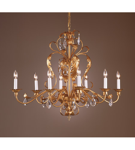 Wildwood Lamps Gold And Crystal Chandelier in Iron With Metal Leaf And Lead Crystal 7725 photo