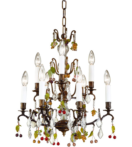 Wildwood Lamps 7738 Bronze 9 Light 18 inch Oxidized Brass With Crystal Column Chandelier Ceiling Light photo