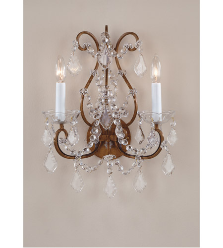 Wildwood Lamps Crystals-Crystals Sconce in Antique Gold With Crystal Bobesche 7788 photo