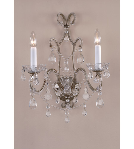 Wildwood Lamps Beaded Crystal Sconce in Antique Silver With Crystal Beads 7791 photo