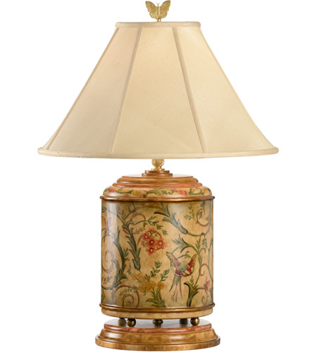 Wildwood Lamps Birds Entwined Table Lamp in Hand Painted Woodware With Antique Patina 8466 photo